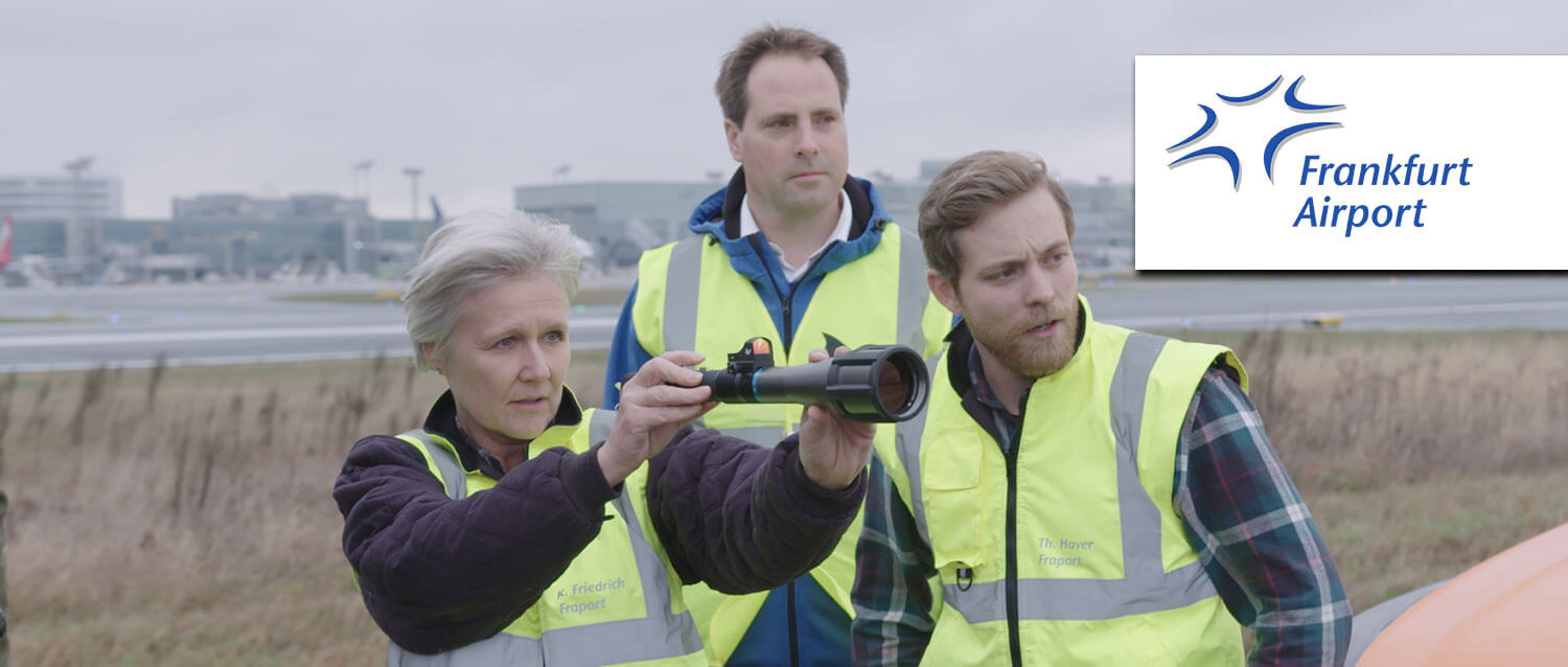 Frankfurt Airport uses the Aerolaser Handheld, a very safe bird control tool.